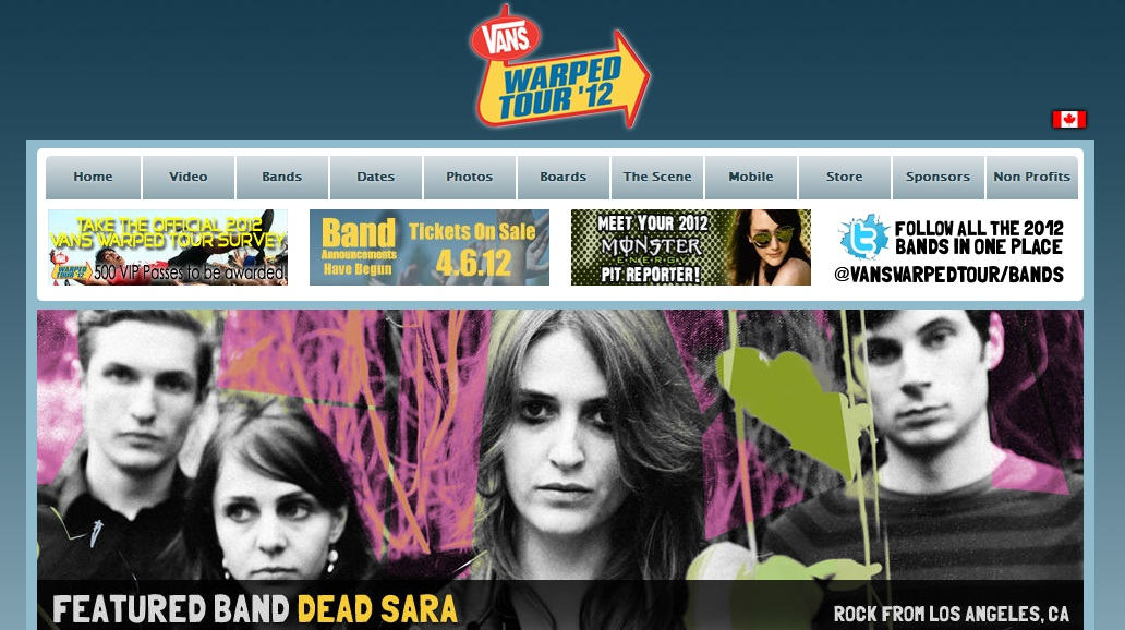 Vans Warped Tour 2012 - Featuring Dead Sara